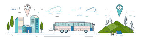 Modern web banner template with bus riding from start point towards tourist camp at finish point. Touristic transportation, adventure travel transport service. Vector illustration in linear style