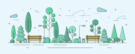 City park or garden with trees, bushes and street facilities. Outdoor recreational area or zone. Creative colorful vector illustration in modern linear style for urban public location planning