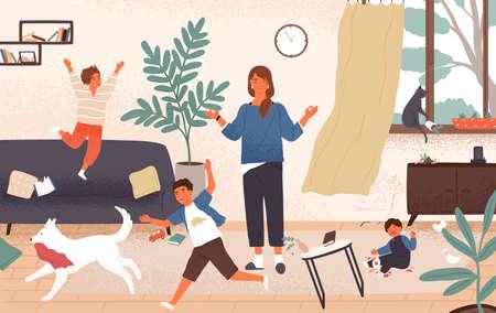 Mamá tranquila y niños traviesos y traviesos corriendo a su alrededor. Madre rodeada de niños tratando de mantener la ecuanimidad, la compostura y la calma. Crianza moderna. Ilustración de vector colorido de dibujos animados plana