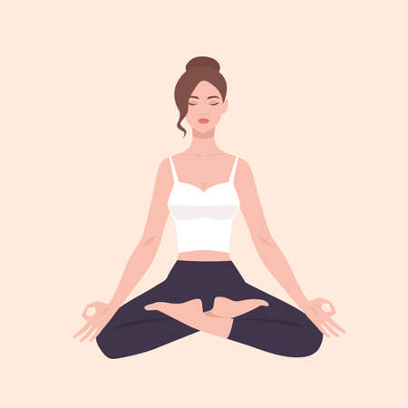 Young pretty woman performing yoga exercise. Female cartoon character sitting in lotus posture and meditating. Girl with crossed legs isolated on light background. Colorful flat vector illustration