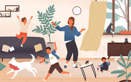 Confused mom and adorable naughty mischievous children jumping around her. Distressed and unhappy mother surrounded by playing kids. Modern parenting. Flat cartoon colorful vector illustration
