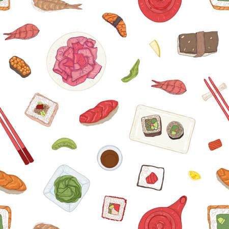 Patrón sin fisuras con sushi japonés, sashimi, rollos, wasabi, jengibre, salsa de soja sobre fondo blanco. Telón de fondo con deliciosas comidas tradicionales de mariscos asiáticos. Ilustración de vector dibujado a mano realista