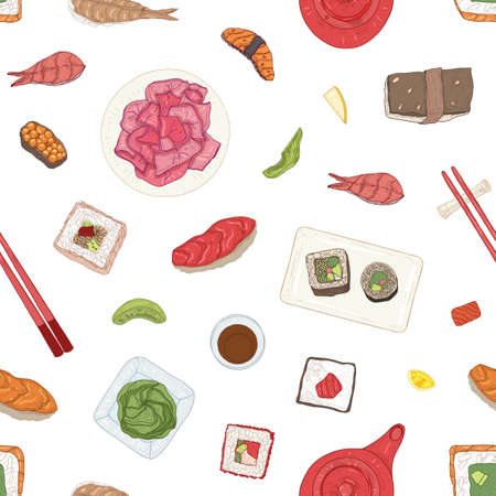 Seamless pattern with Japanese sushi, sashimi, rolls, wasabi, ginger, soy sauce on white background. Backdrop with traditional delicious Asian seafood meals. Realistic hand drawn vector illustration Ilustracja