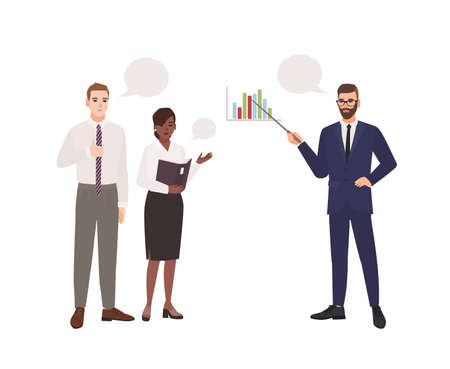 Bearded man in office suit making presentation in front of colleagues. Business meeting. Managers taking part in professional discussion, conversation or dialog. Flat cartoon vector illustration