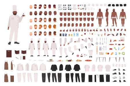 African American chef, cook, culinary or kitchen worker animation set or DIY kit. Bundle of body parts, postures, uniform. Male cartoon character. Front, side, back views. Flat vector illustration.