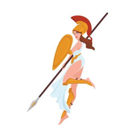 Female warrior, Greek goddess, Amazon or gladiator. Woman holding spear and shield isolated on white background. Beautiful maiden wearing helmet, mythological hero. Flat cartoon vector illustration.