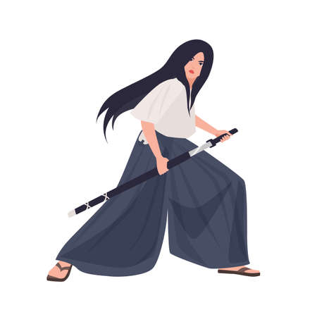 Female Japanese warrior or samurai girl. Young woman in kimono standing in fighting stance and holding katana sword isolated on white background. Brave fighter. Flat cartoon vector illustration.