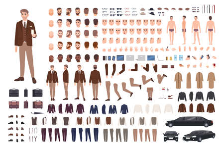 Classy stylish man in suit creation set or constructor kit. Bundle of body parts, poses, faces, emotions, formal clothes. Male cartoon character. Front, side, back views. Flat vector illustration