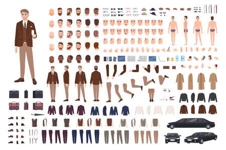 Hombre elegante con clase en conjunto de creación de traje o kit de constructor. Paquete de partes del cuerpo, poses, rostros, emociones, ropa formal. Personaje de dibujos animados masculino. Vistas frontal, lateral y posterior. Ilustración vectorial plana
