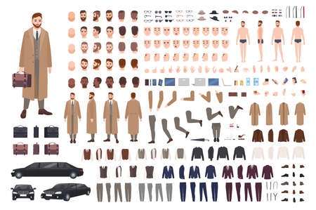Elegant bearded man in coat animation set or DIY kit. Collection of body parts, postures, hairstyles, stylish clothes. Male cartoon character. Front, side, back views. Flat vector illustration