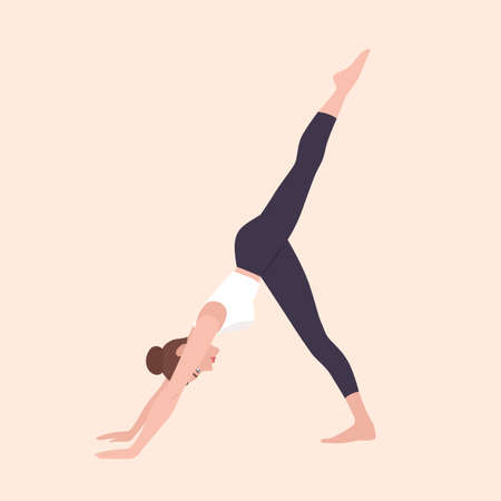 Yogi woman in Eka Pada Adho Mukha Svanasana or Three-Legged Dog Pose. Female cartoon character practicing Hatha yoga. Girl demonstrating exercise during gymnastics training. Flat vector illustration. Illusztráció