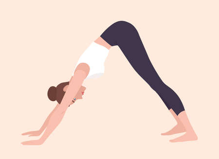 Woman in Adho Mukha Svanasana or downward-facing dog pose. Female cartoon character practicing yoga. Girl stretching during fitness workout isolated on light background. Flat vector illustration Illustration