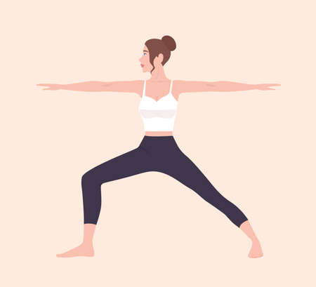 Cute slim woman in Virabhadrasana II or Warrior Pose. Female cartoon character demonstrating Hatha yoga posture. Girl performing gymnastics exercise during fitness workout. Flat vector illustration. 스톡 콘텐츠 - 123740809