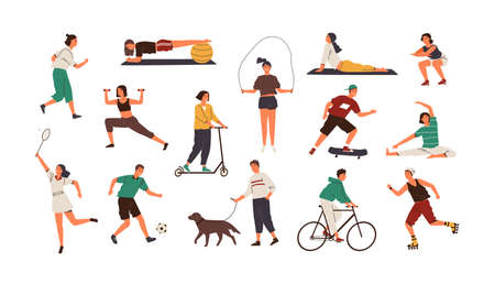 Set of funny people performing sports activities, fitness workout or playing games. Bundle of training or exercising men and women isolated on white background. Flat cartoon vector illustration 스톡 콘텐츠 - 122893796