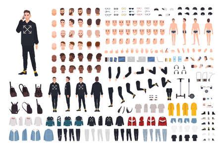 Jonge hipster man in moderne streetstyle outfit animatie kit. Bundel van lichaamsdetails, emoties, stijlvolle kleding, kapsels. Mannelijke stripfiguur. Voor-, zij-, achteraanzichten. Platte vectorillustratie Vector Illustratie