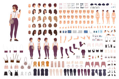Stylish girl animation kit or creation set. Bundle of body parts, casual clothes, accessories. Trendy street style outfit. Female cartoon character. Front, side, back views. Flat vector illustration