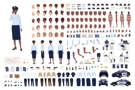 Conjunto de constructor de mujer policía o kit de bricolaje. Paquete de partes del cuerpo de mujer policía, gestos, poses, emociones, uniforme de trabajo, lugar de trabajo aislado sobre fondo blanco. Ilustración de vector de dibujos animados plana