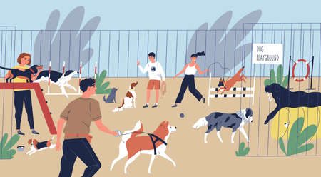 Happy smiling people playing with dogs at playground. Cute funny men and women walking and training domestic animals. Pets and their owners at city park. Flat cartoon colorful vector illustration