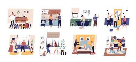 Raccolta di persone carine e divertenti che fanno i lavori domestici. Set di uomini, donne e bambini che lavano i piatti, puliscono le finestre, aspirano i tappeti, piegano i vestiti, fanno il letto. Illustrazione di vettore del fumetto piatto.