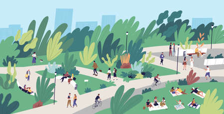Landscape with people walking, playing, riding bicycle at city park. Urban recreation area with men and women performing leisure activities outdoors. Flat cartoon colorful vector illustration Illustration