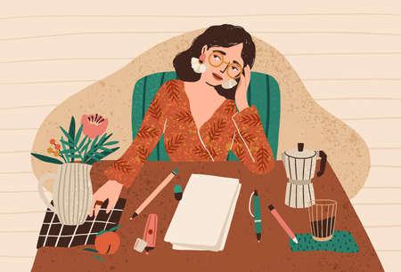 Mujer pensativa joven sentada en el escritorio con una hoja de papel limpia delante de ella. Concepto de bloqueo del escritor, miedo a la pizarra en blanco, crisis de creatividad, problema de inicio del trabajo. Ilustración vectorial de dibujos animados plana