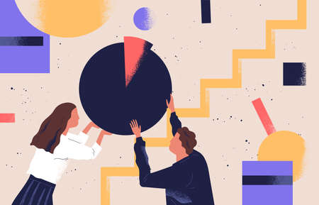 Man and woman organizing abstract geometric shapes. Pair of people holding round pie chart. Cute funny boy, girl and circular diagram. Colorful vector illustration in modern flat cartoon style