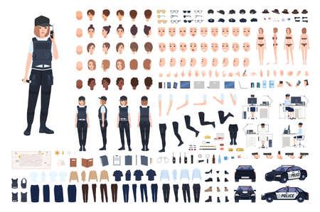 Conjunto de animación de mujer policía o kit de bricolaje. Paquete de partes del cuerpo de mujer policía, caras, peinados, uniformes, ropa y accesorios aislados sobre fondo blanco. Ilustración de vector de dibujos animados plana.