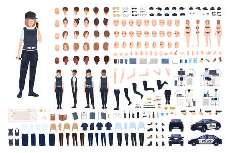 Policewoman animation set or DIY kit. Bundle of female police officer body parts, faces, hairstyles, uniform, clothing and accessories isolated on white background. Flat cartoon vector illustration.