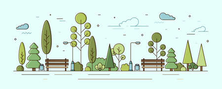 Modern urban landscape. Municipal park or communal garden with green trees, bushes, street lights and benches. City recreational area or natural zone. Colorful vector illustration in linear style