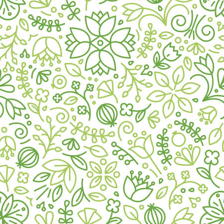Seamless pattern with blooming plants drawn with green contour lines on white background. Floral backdrop with meadow flowers. Seasonal vector illustration in modern line art style for wrapping paper