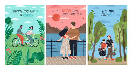 Colección de tarjetas con lindas parejas románticas en cita montando bicicleta tándem, viendo la puesta de sol, caminando. Conjunto de postales con joven y mujer enamorada. Ilustración de vector colorido de dibujos animados plana