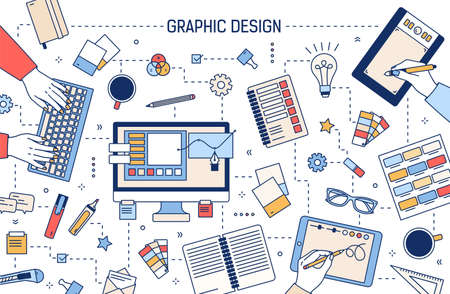 Web banner template with graphic design or digital art tools, hands working on computer or drawing on tablet surrounded by stationery on white background. Vector illustration in modern linear style.