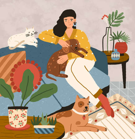 Cute smiling young girl sitting on comfy sofa with dogs and cat. Adorable woman spending time at home with her domestic animals. Portrait of happy pet owner. Flat cartoon vector illustration