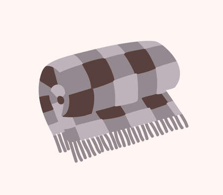 Woolen checkered plaid with fringe or warm rolled tartan blanket isolated on white background. Home decoration in Hygge style, decorative design element. Flat cartoon colorful vector illustration. Illustration