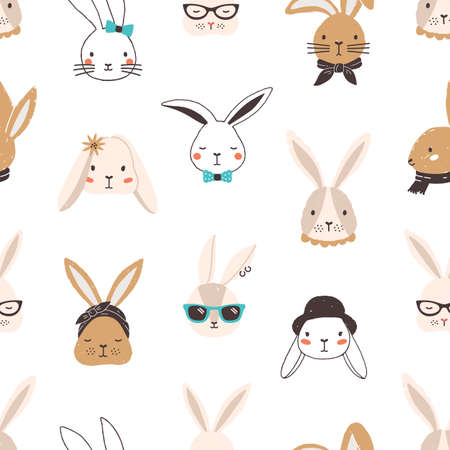 Childish seamless pattern with funny bunny faces on white background. Backdrop with cute rabbits or hares wearing glasses, sunglasses, hat, scarf, headscarf, bow tie. Flat cartoon vector illustration