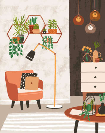 Cozy living room interior with armchair, houseplants growing in pots, shelves, lamps, home decorations. Comfortable apartment decorated in modern Scandinavian hygge style. Flat vector illustration