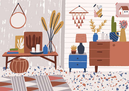 Stylish living room interior with coffee table, sideboard, plants growing in pots, lamp, home decorations. Comfy and cozy apartment furnished in modern Scandic hygge style. Flat vector illustration