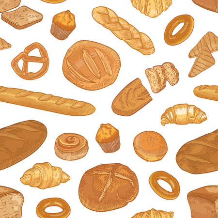 Elegant seamless pattern with different types of bread and delicious backed products on white background. Backdrop with homemade pastry. Realistic hand drawn vector illustration for textile print