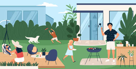 Happy family spending time in backyard. Mother, father and children performing recreational activities in garden. Parents and kids at barbecue party or picnic. Flat cartoon vector illustration