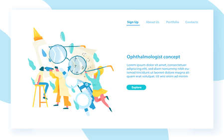 Website template with ophthalmologist examining eyes of female patient. Visual acuity check, ophthalmology service, medical diagnostics. Modern flat vector illustration for internet advertisement  イラスト・ベクター素材