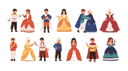Collection of cute little princes and princesses isolated on white background. Bundle of happy children dressed as kings and queens for carnival or royal ball. Flat cartoon vector illustration