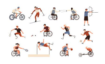 Collectie van mannelijke en vrouwelijke atleten geïsoleerd op een witte achtergrond. Bundel van gehandicapte mensen met prothetische ledematen die sportactiviteiten uitvoeren. Platte cartoon vectorillustratie