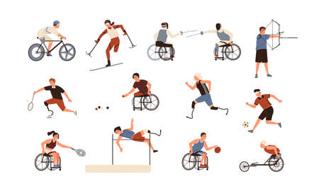 Collection of male and female athletes isolated on white background. Bundle of disabled people with prosthetic limbs performing sports activities. Flat cartoon vector illustration