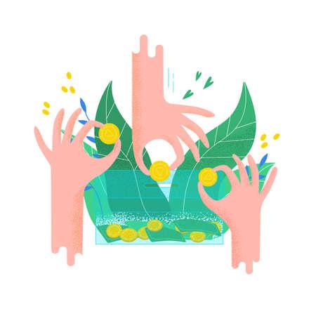 Manos sosteniendo monedas y poniéndolas en la caja de dinero. Concepto de proyecto de caridad, servicio de donación, programa de recaudación de fondos, organización sin fines de lucro, dotación financiera. Ilustración de vector plano moderno
