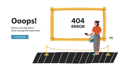 Szablon strony internetowej z młodą kobietą stojącą przed obrazem w galerii sztuki lub muzeum i patrzącą na niego. Nie znaleziono strony, konserwacja strony internetowej lub błąd 404. Ilustracja wektorowa płaski kolorowy kreskówka. Ilustracje wektorowe