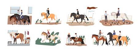 Colección de personas a caballo. Conjunto de lindos hombres, mujeres y niños que practican cabalgatas o ecuestres, cuidando de sus animales domésticos. Ilustración de vector colorido de dibujos animados plana.
