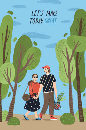 Poster template with cute couple holding hands and walking together at park and romantic phrase. Young boy and girl in love or pair of lovers on date. Flat cartoon vector illustration for 14 February