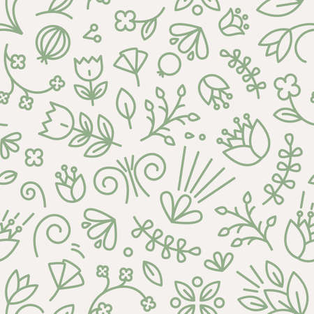 Botanical seamless pattern with blooming flowers and berries drawn with contour lines on white background. Backdrop with summer blossom. Vector illustration in line art style for textile print