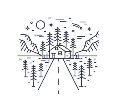 Round composition with highway leading to lodge, house or hut in woodland surrounded by spruce trees and mountains drawn with contour lines. Monochrome vector illustration in modern linear style