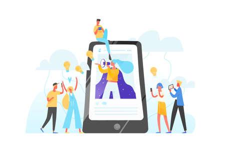 Teléfono móvil, mujer con megáfono en pantalla y jóvenes que la rodean. Influencer marketing, redes sociales o promoción en redes, SMM. Ilustración de vector plano para publicidad en internet